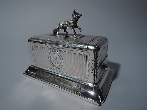 Antique Austrian Silver Cigarette Box with Match Strike & Fox Finial