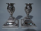 Pair of Classical English Sterling Silver Candlesticks 1880
