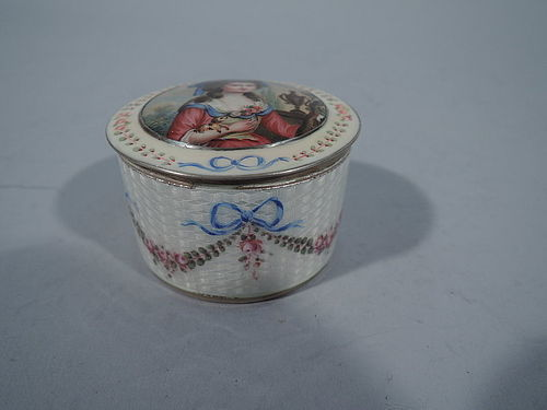 Antique Neoclassical Sterling Silver and Enamel Box