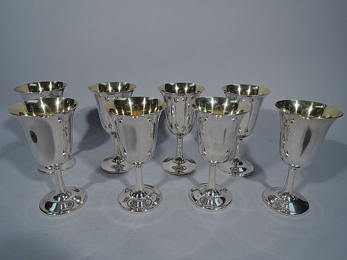 Set of 8 American Sterling Silver Water Goblets