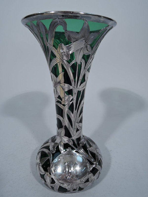 Alvin Emerald Green Glass Vase with Floral Overlay
