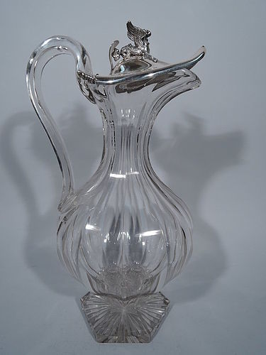 Large Austrian Antique Biedermeier Silver and Cut Glass Decanter