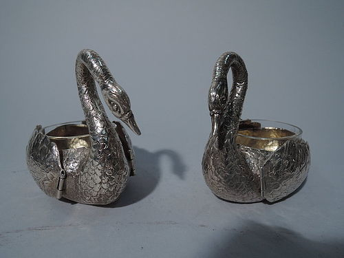Pair of Antique German Silver Swan Open Salts