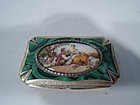 Antique Romantic Rococo Silver Gilt and Enamel Snuffbox