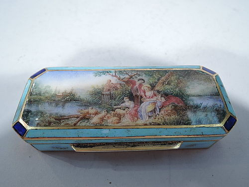 Italian Silver Gilt and Enamel Rococo Box