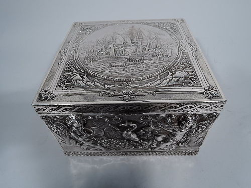 Large Antique German Silver Box with Seafaring Galleons and Cherubs
