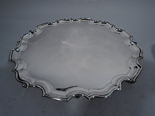 Large Sterling Silver Salver Tray with Georgian Pie Crust Rim