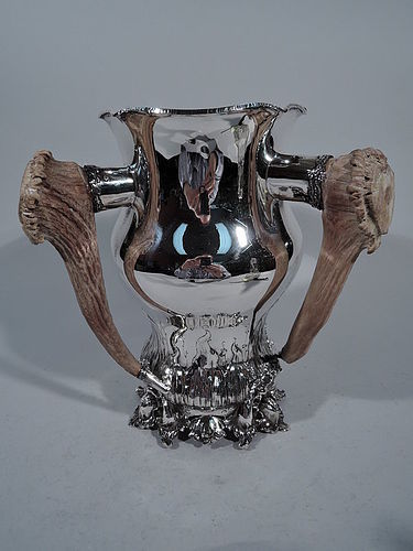 Shiebler Sterling Silver Alpha Trophy Cup with Antler Handles