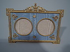 Antique French Empire Dore Bronze Double Picture Frame