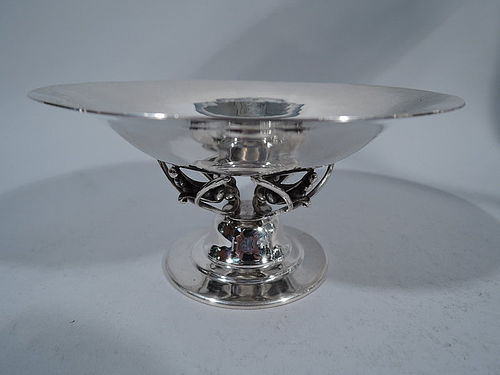 De Matteo Hand Hammered Sterling Silver Compote in Jensen Style