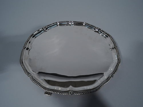 English Georgian Style Sterling Silver Salver Tray