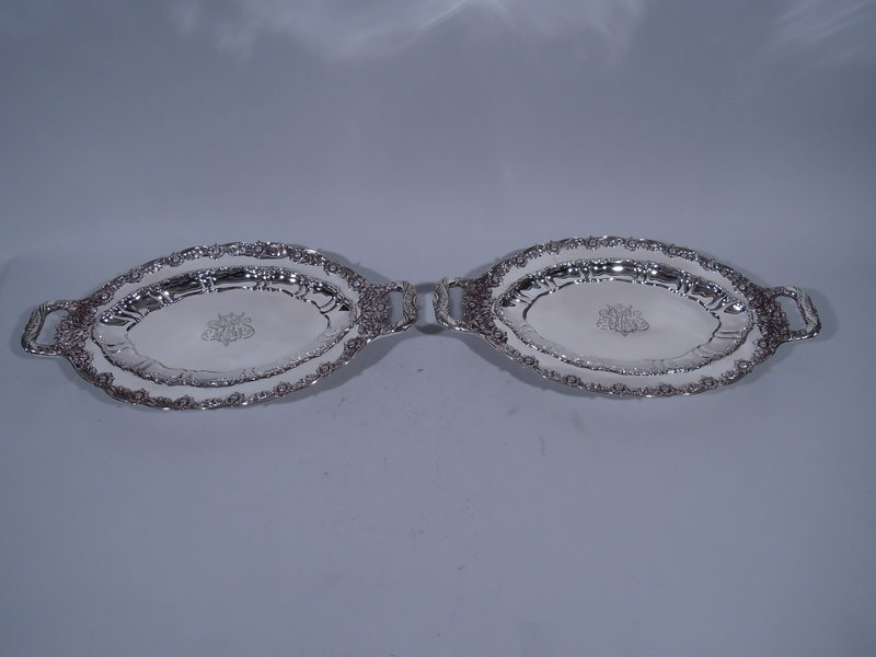 Pair of Rare Tiffany Chrysanthemum Serving Dishes with Handles