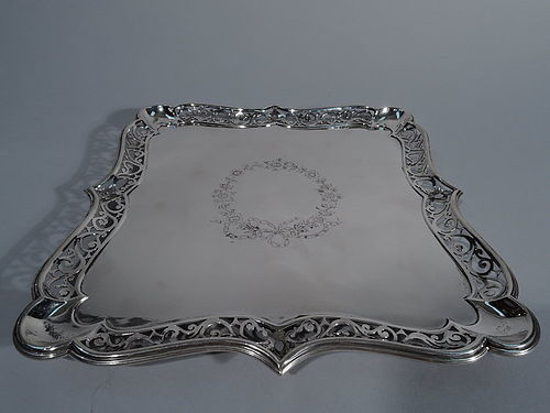 Edwardian Fancy Sterling Silver Square Salver Tray by James Dixon