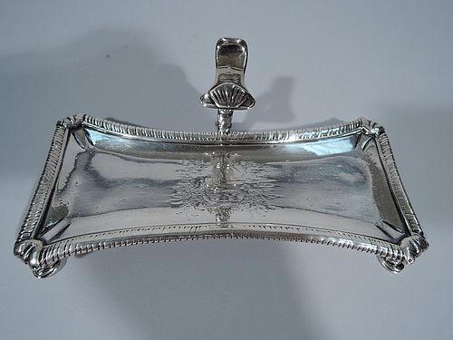 Antique Georgian English Sterling Silver Snuffer Tray 1757