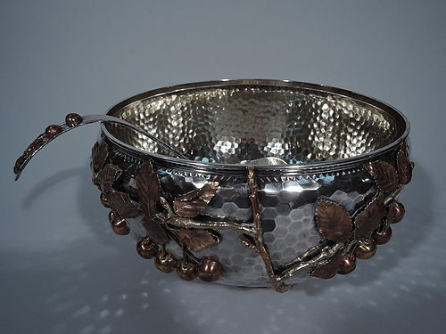 Gorham Japonesque Silver & Mixed Metal Punch Bowl with Cherry Branch