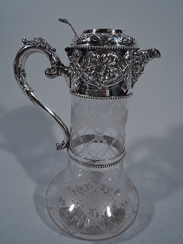 Antique English Sterling Silver Wine Decanter 1867
