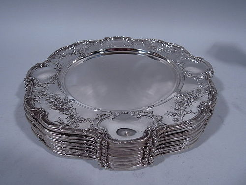 Set of 8 Edwardian Sterling Silver Dinner Service Plates by Gorham