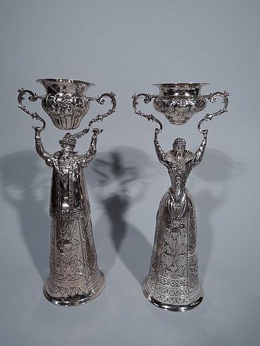 Pair of German Sterling Silver Wedding Cups � Renaissance Man & Woman