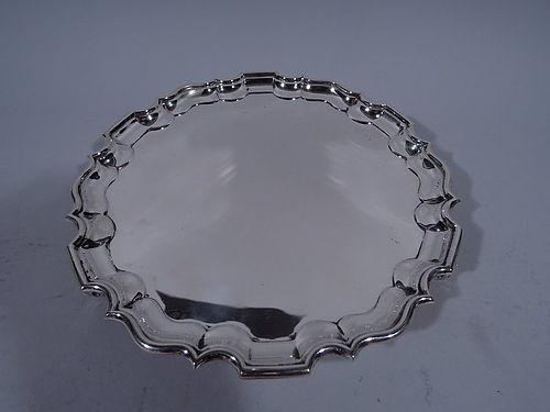 English Sterling Silver Salver Tray in Traditional Georgian Style 1910