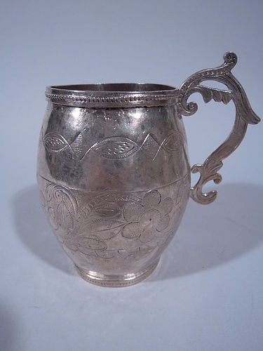 South American Silver Mug with Interesting Engraved Work C 1850