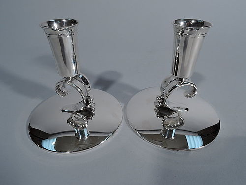Pair of Tiffany Midcentury Modern Sterling Silver Candlesticks