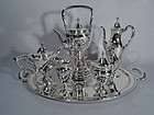 Tiffany Modern Neoclassical Sterling Silver Coffee and Tea Set on Tray