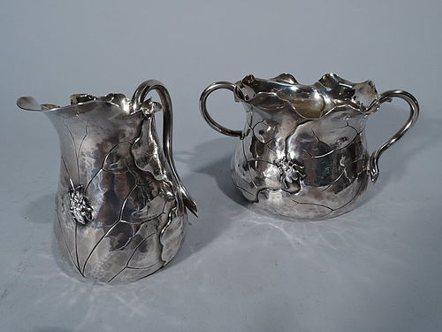Shiebler Japonesque Sterling Silver Creamer & Sugar with Applied Bugs