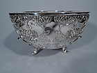 Monumental Japanese Meiji Silver Centerpiece Bowl with Chrysanthemums