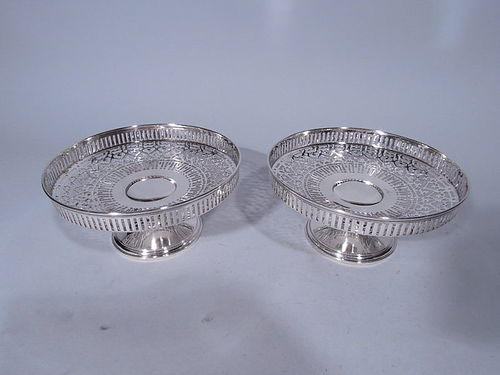 Pair of Tiffany Edwardian Sterling Silver Pierced Compotes