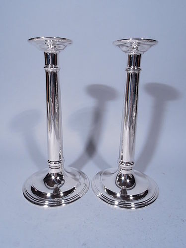 Pair of Tiffany Sterling Silver Column Candlesticks