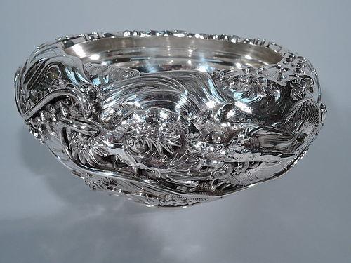 Japanese Large Silver Dragon Centerpiece Bowl - Meiji Era  C 1890