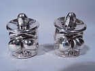 Pair of Mexican Sterling Silver Figural Salt & Pepper Shakers