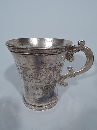 Antique South American Silver Mug with Scrolls and Leaves C 1840