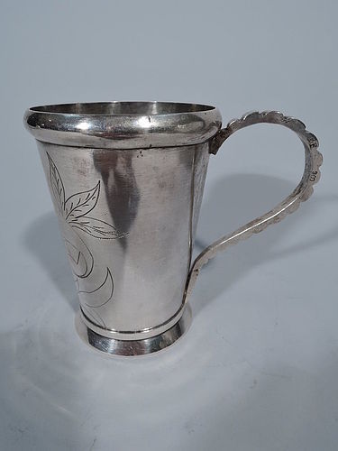 South American Silver Mug with Flower