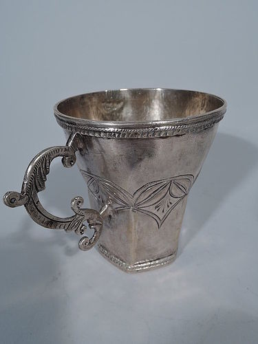 Antique South American Silver Mug with Interesting Shape & Handle