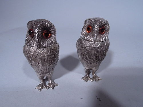 Pair of Traditional English Sterling Silver Owl Salt & Pepper Shakers