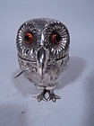 Traditional Tiffany Sterling Silver Owl Mustard Pot with Mouse Spoon