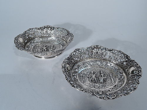 Pair of German Antique Rococo Silver Bowls C 1900