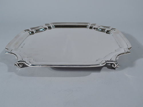 Traditional English Sterling Silver Cartouche Salver Tray