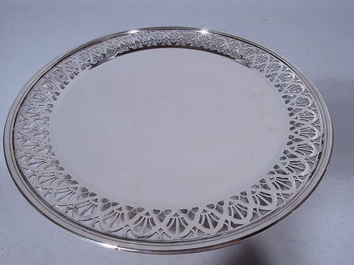 Tiffany Sterling Silver Cake Plate with Pierced Arcade Border