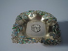 American Art Nouveau Silver Gilt Bowl with Enameled Forget Me Nots