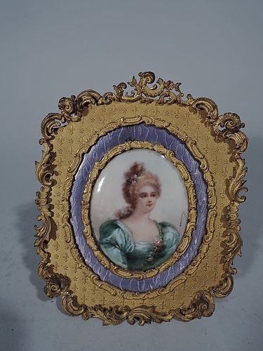 Antique Rococo Gilt Bronze and Purple Enamel Frame