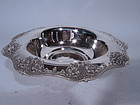 Antique Tiffany Sterling Silver Bowl with Flowers & Roundels C 1910