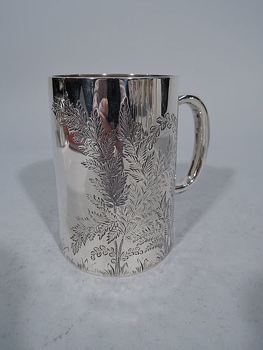 English Sterling Silver Baby Cup with Foliage & Fronds 1875