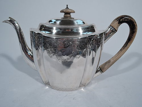 English Georgian Sterling Silver Teapot by Bateman 1799