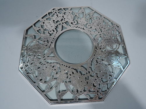 Unusual Octagonal Glass Trivet with Silver Overlay Garland