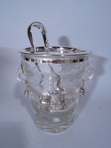 Danish Modern Sterling Silver and Glass Ice Bucket with Tongs