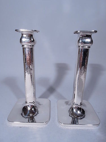 Pair of American Craftsman Hand Hammered Sterling Silver Candlesticks