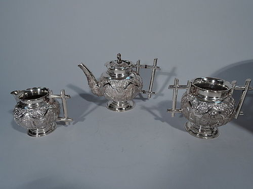 Colonial Indian Silver Tea Set with Exotic Scenes