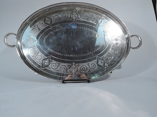 Antique English Aesthetic Sterling Silver Tea Tray 1896